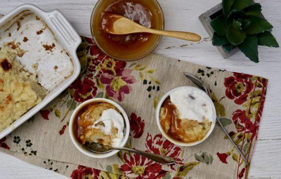 Vanilla-Bourbon Bread Pudding With Caramel Sauce