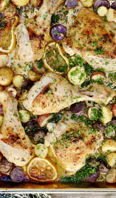 Sheet Pan Lemon-Garlic Chicken With Marble Potatoes