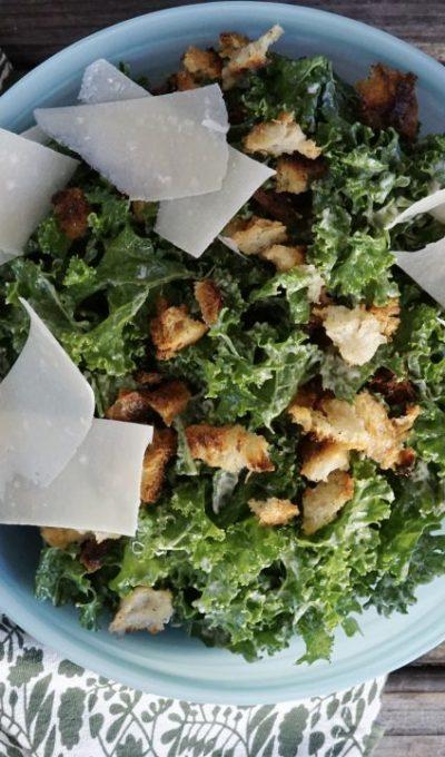 Kale Caesar Salad With Sourdough Croutons