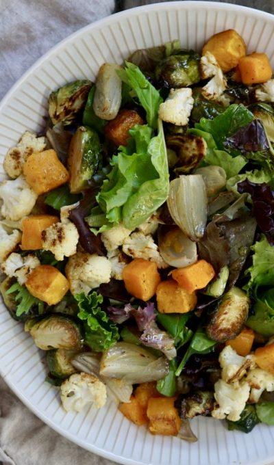 Roasted Winter Vegetable Salad With Apple Cider-Honey Vinaigrette