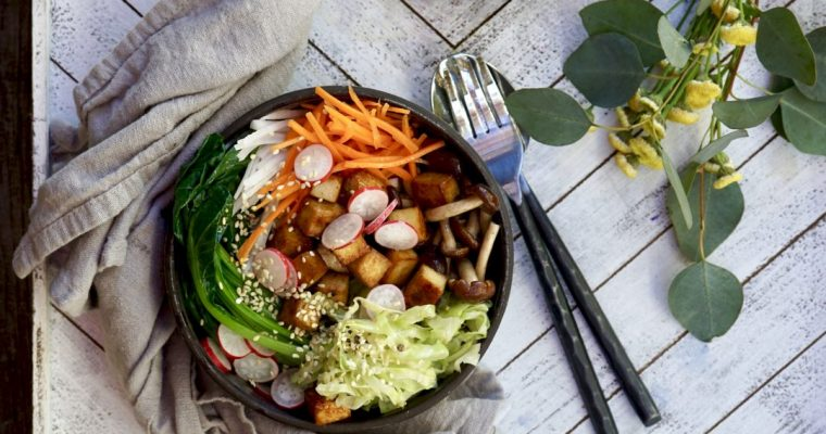 Tofu Buddha Bowl With Miso Dressing