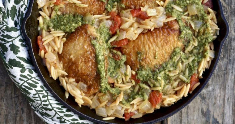 Skillet Chicken With Orzo And Pesto