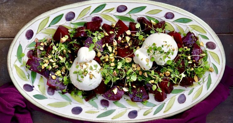 Roasted Beets With Burrata + Pistachios