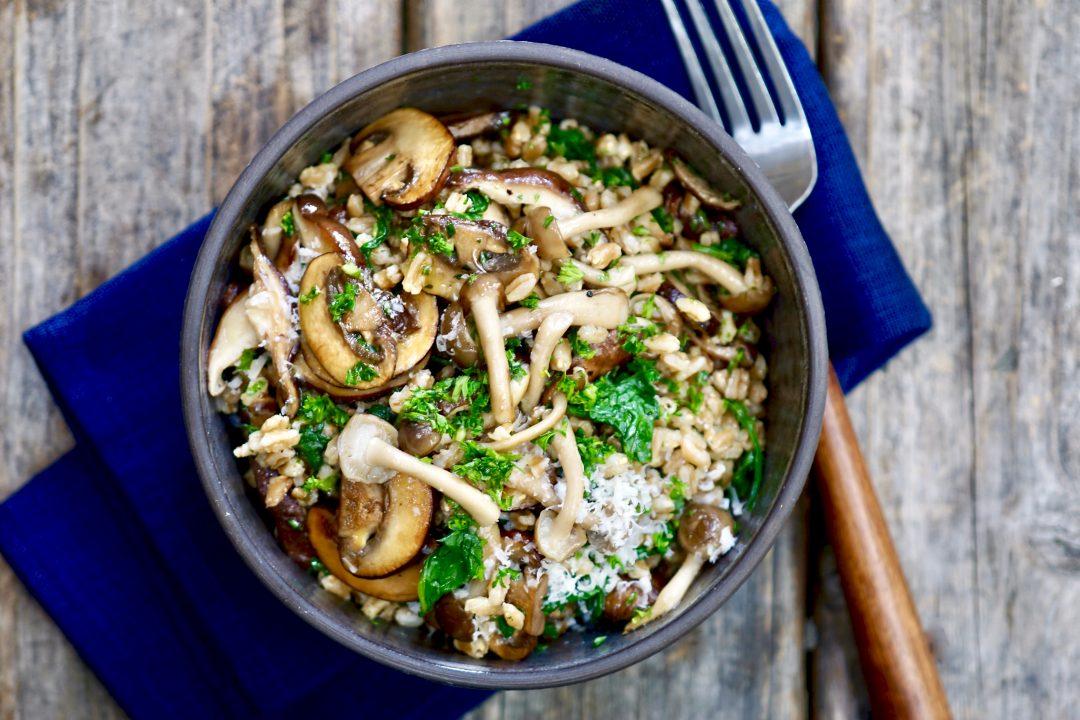 Mushroom Farro With Truffle Oil