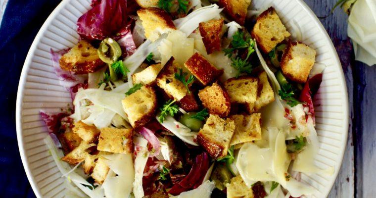 Radicchio, Fennel and Olive Panzanella Salad