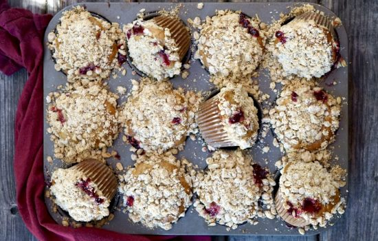 Cranberry-Oatmeal Muffins With Streusel Topping